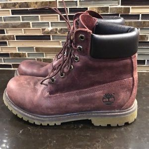 Timberland burgundy leather waterproof boots